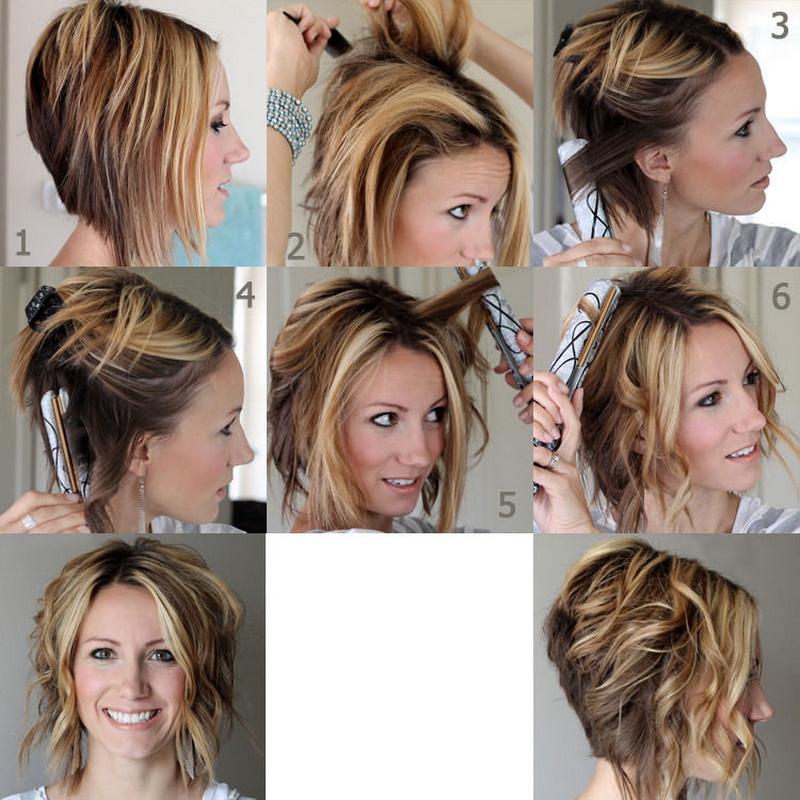 Как сделать локоны утюжком на короткие волосы пошаговая