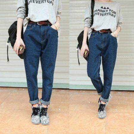 широкие женские джинсы с чем носить фото