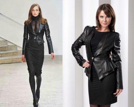 c68105b4332 Необыкновенно выигрышный и нежный образ можно создать надев куртку из кожи  поверх воздушного платья. Длина платья должна зависеть от особенностей  вашей ...