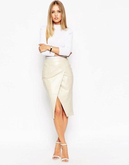 kozhanaya yubka 24 - Кожаная юбка (197 фото) 2018: модные фасоны, мини, миди, длинная, с чем одевать