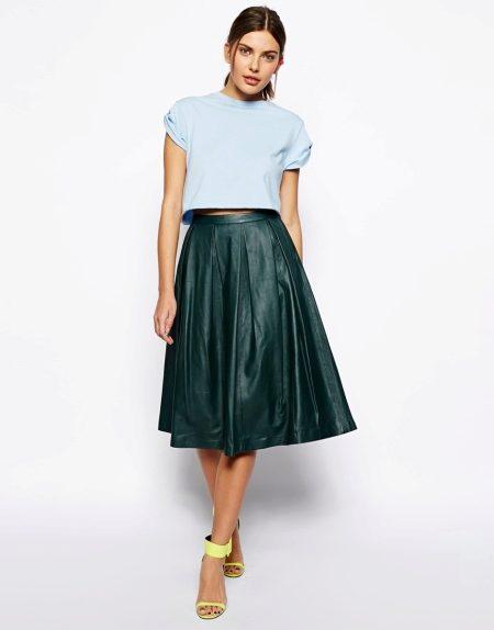 kozhanaya yubka 28 - Кожаная юбка (197 фото) 2018: модные фасоны, мини, миди, длинная, с чем одевать