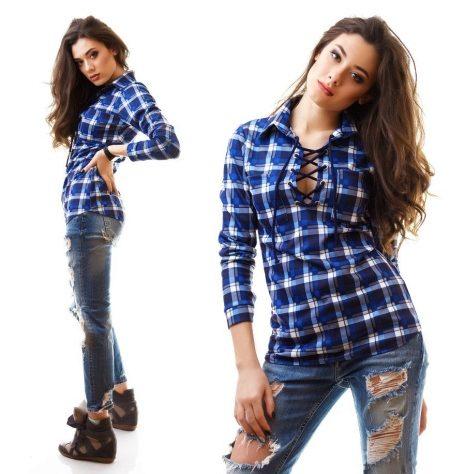 d6a86b448ee Рубашки в синюю клетку идеально сочетаются с джинсами и юбками из денима.  Такая расцветка подойдет для повседневной носки