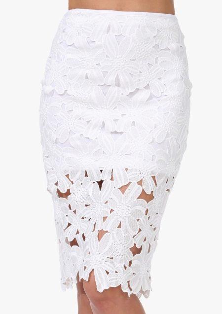 Белая джинсовая юбка (50 фото): с чем носить, с кружевом