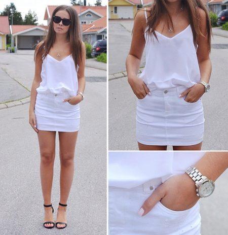 Джинсовые мини юбки белые