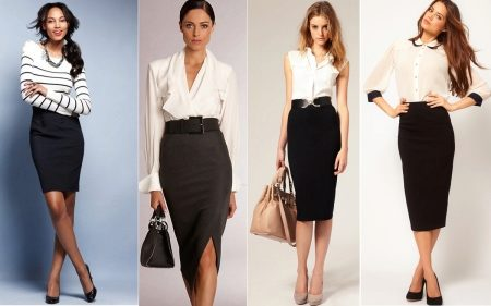 47529f42aa8 Чёрная юбка-карандаш (60 фото)  с чем носить