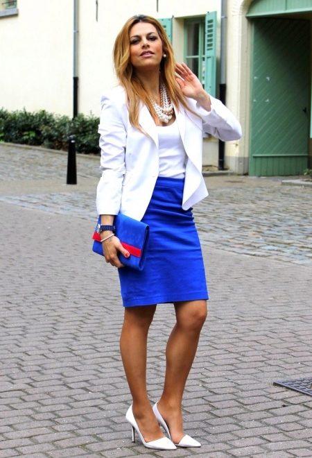 Блузка к синей юбке карандаш фото