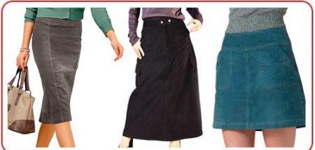 Фасоны для юбок из вельвета