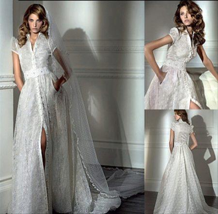 d8242c3d942 Оригинальная модель для смелых и экстравагантных особ  платье-рубашка  прямого свободного покроя с коротким рукавом. Это свадебное платье  настолько ...