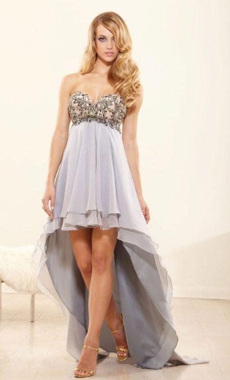 Платье сзади длинное спереди короткое (91 фото): как называется, синее, шифоновое, фасоны