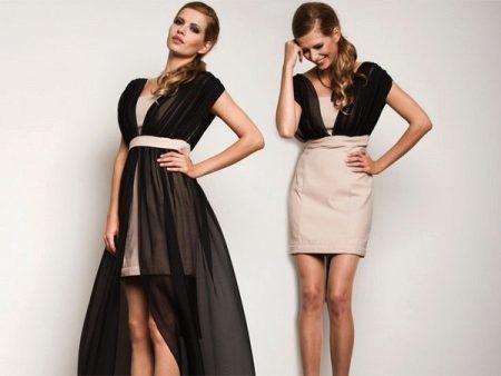 56bd4986668 Здорово смотрится платье-трансформер с асимметричной длиной. Цвет яркий и  платье выглядит празднично. На девушке крупные украшения и туфли телесного  цвета.