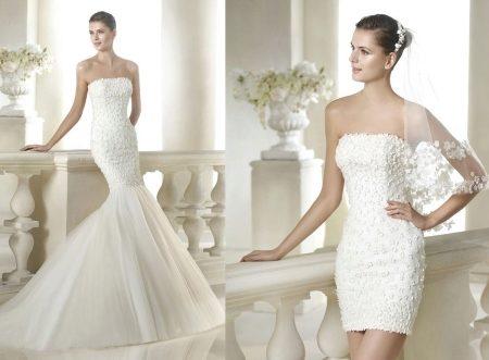 1b0064bae7f Именно для таких девушек и придумали свадебное платье-трансформер. Чаще  всего оно имеет пышную съемную юбку или шлейф. Главной же деталью здесь  является ...