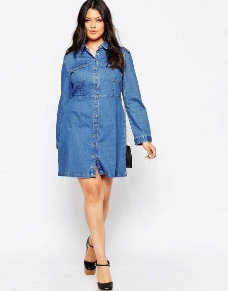 Платья-рубашки для полных женщин больших размеров 2018 (44 фото)
