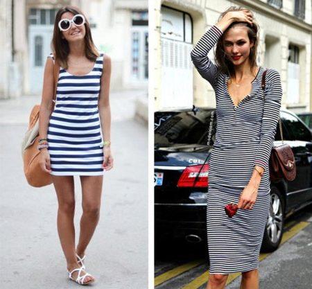Платье в полоску черно белое с чем носить