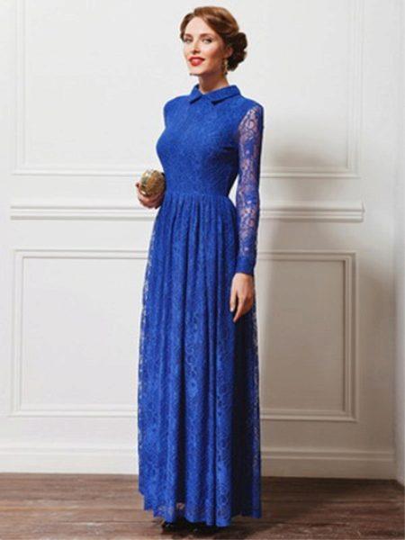 Закрытые синее платья