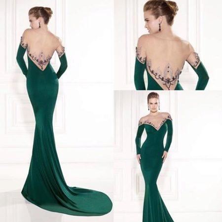 Зелёные платья в пол с открытой спиной