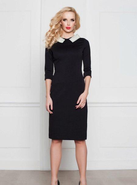 82c43861724 Черное платье с белым воротником (59 фото)  с манжетами