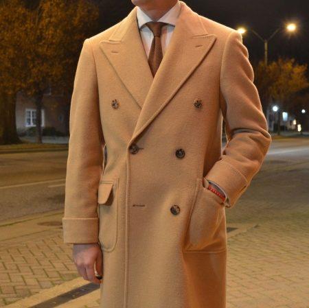 Пальто мужское (177 фото) 2018: двубортное, приталенное, бежевое, черное, коричневое, как выбрать, шерстяное, серое