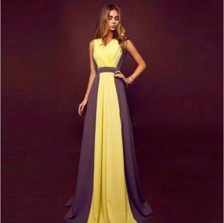 Фиолетовое с желтым платье