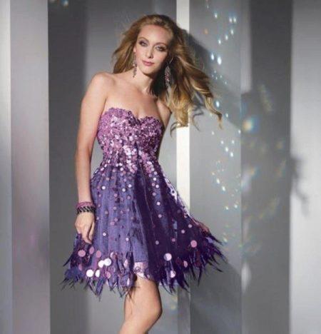 Сиренево лиловое платье