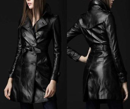 Женское кожаное пальто 2018 (101 фото): утепленное, с кожаным поясом, с чем носить, с капюшоном