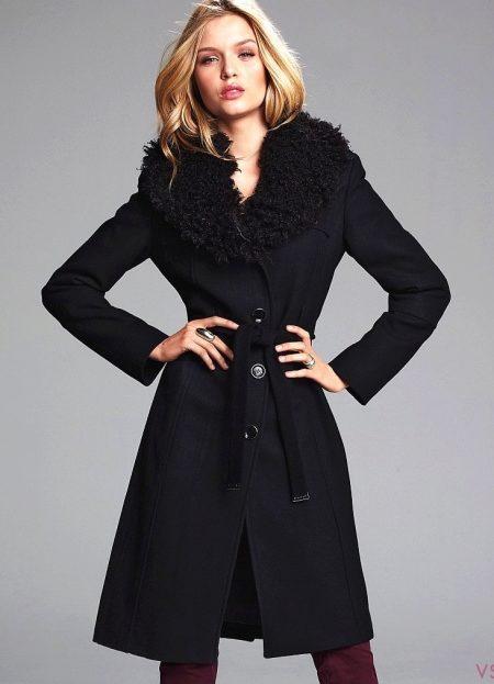 Зимнее кашемировое пальто с меховым воротником (34 фото)