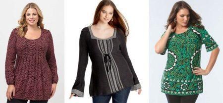 Туника для полных женщин больших размеров (79 фото): красивые, летние, трикотажные, стильные