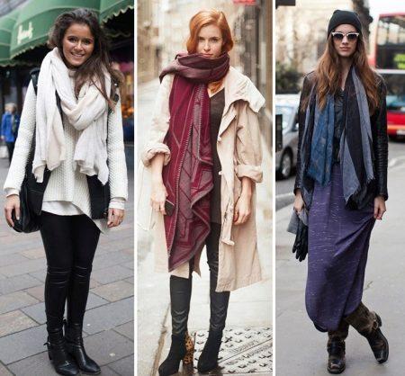 Большой шарф (58 фото): как правильно носить и замотать объемный шарф, как заматывать на шее, теплые большой вязки
