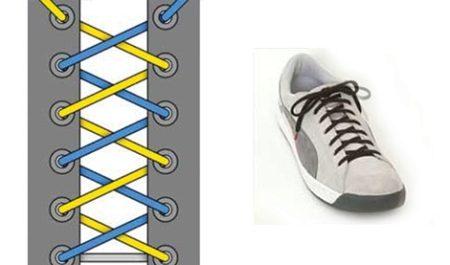 09162541 Такой вариант вязания шнурков – завораживающе смотрится на спортивной  обуви. Это необычайно интересный вариант шнурования. Его можно добиться  только на ...