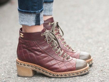 Ботинки шанель с цепями