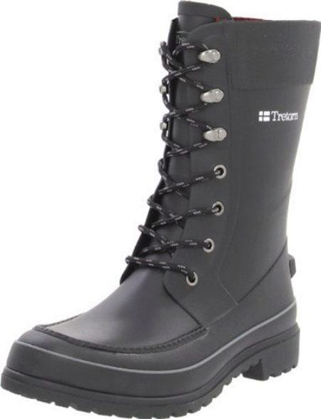Мужские резиновые ботинки: для города, прорезиненные зимние модели, на шнурках, обрезиненные