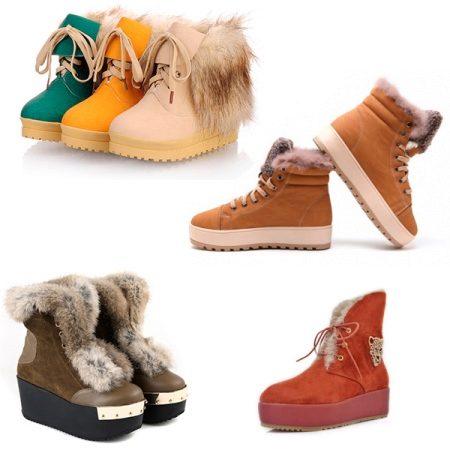Зимние женские ботинки на платформе (35 фото): на высокой, с мехом
