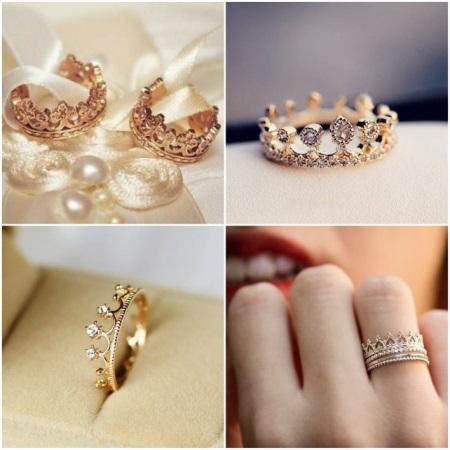 Обручальные кольца в виде короны (31 фото): парные свадебные в форме короны
