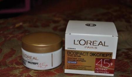 Ночной крем L - Oreal: маски Роскошь Питания, Revitalift Филлер и Возраст Эксперт 45, отзывы