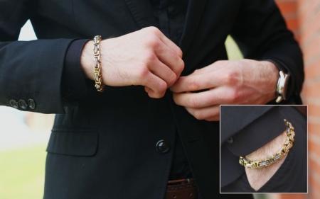Золотые мужские браслеты (117 фото): каучуковые украшения на руку для мужчин с добавлением белого золота, кожаный браслет с золотом