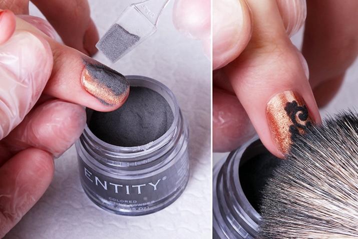 Дизайн ногтей прозрачной акриловой пудрой