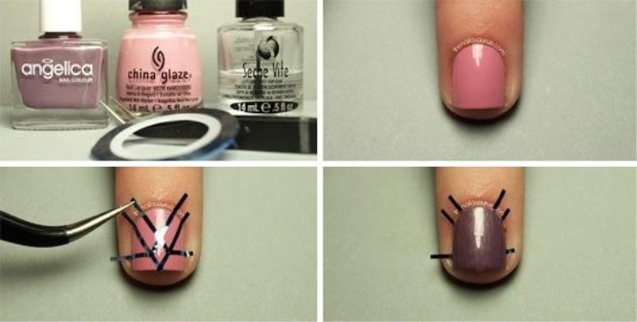 Как сделать полоски на ногтях на гель лаке 390