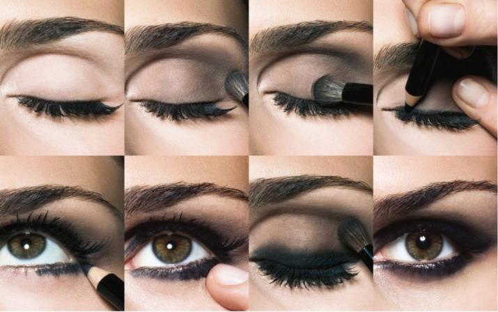 Макияж глаз темно серыми тенями