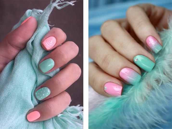 Дизайн ногтей с мятным лаком