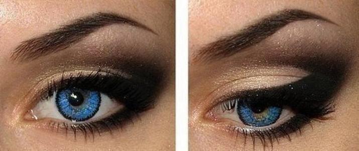 Макияж серо-голубые глаза коричневые волосы